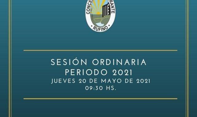 Sesión Ordinaria del Concejo Deliberante del día 20 de mayo de 2021