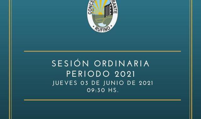 SESIÓN ORDINARIA, CORRESPONDIENTE AL DÍA JUEVES 3 DE JUNIO DE 2021