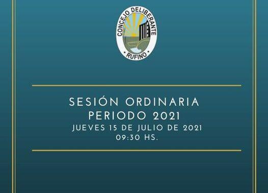 SESIÓN ORDINARIA, CORRESPONDIENTE AL DÍA 15 DE JULIO DE 2021