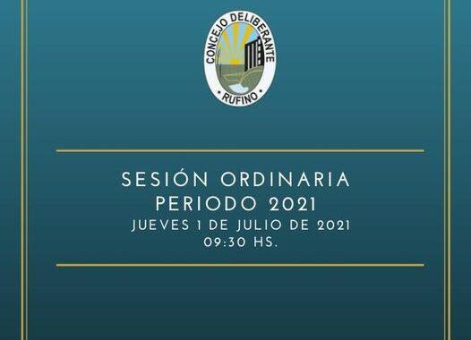 SESIÓN ORDINARIA, CORRESPONDIENTE AL DÍA 1° DE JULIO DE 2021