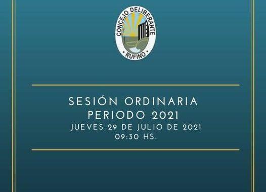 Sesión Ordinaria del Concejo Deliberante del jueves 29 de Julio