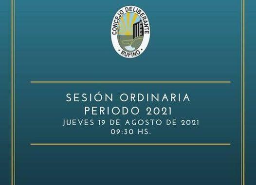 SESIÓN ORDINARIA, CORRESPONDIENTE AL DÍA 19 DE AGOSTO DE 2021